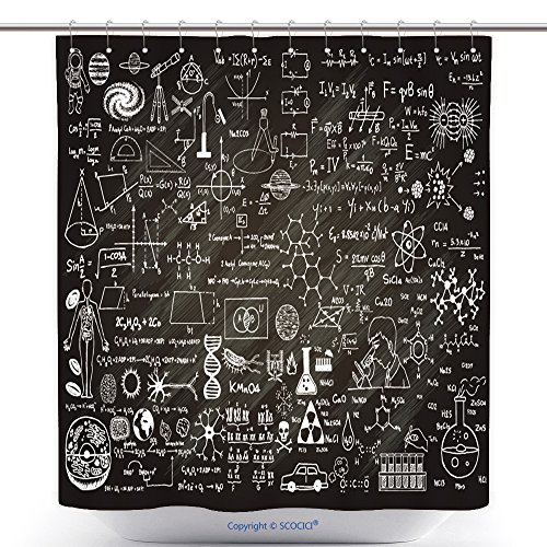 [Custom Shower Curtains Hand Drawn Science Formulas On Chalkboard For Background 289219460 Polyester Bathroom Shower Curtain Set With Hooks] (Sunset Traditional Hand Shower)