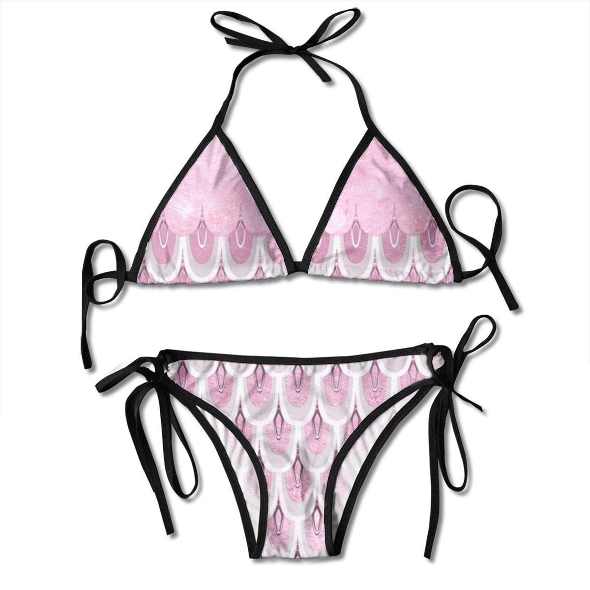 4c8face0f7c5d Pink Key Fish Mermaid Fish Scales Women Sexy Two Piece Swimsuit Tie Side Bikini  Swimsuit Bathing Suit One Size at Amazon Women's Clothing store: