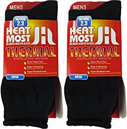 Mens Thermal Socks – 2 Pair Insulated Heated Socks – Boot Socks For Extreme Temperatures