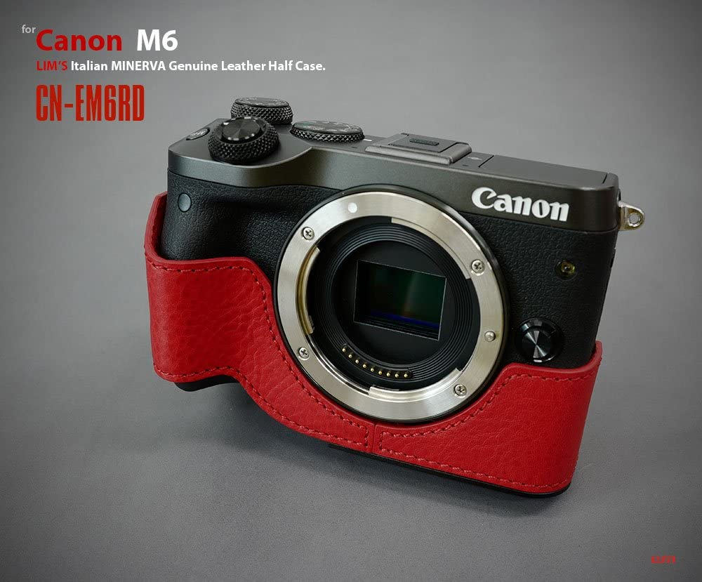 LIMS CN-EM6R Genuine Cow Leather Half Case for Canon M6 Red