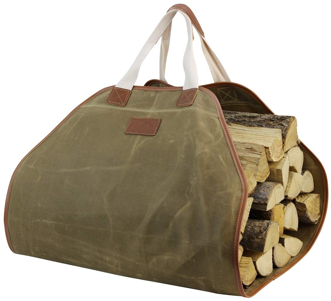 INNO STAGE Canvas Log Carrier Bag,Durable Wood Tote,Fireplace Stove Accessories,Extra Large Firewood Holder with Handles for Camping Khaki by INNO STAGE