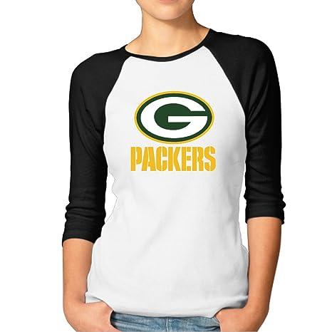 63384b9a0 Women s Green Bay Packers Football Logo Packers Baseball T-shirt Black XXL  (2 Colors)  Amazon.ca  Clothing   Accessories