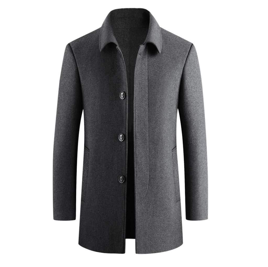 Garish Winter Men Classic Pure Color Lapel Slim Trench Coat Gentleman Warm Business Overcoat Casual Jacket Outwear by Garish