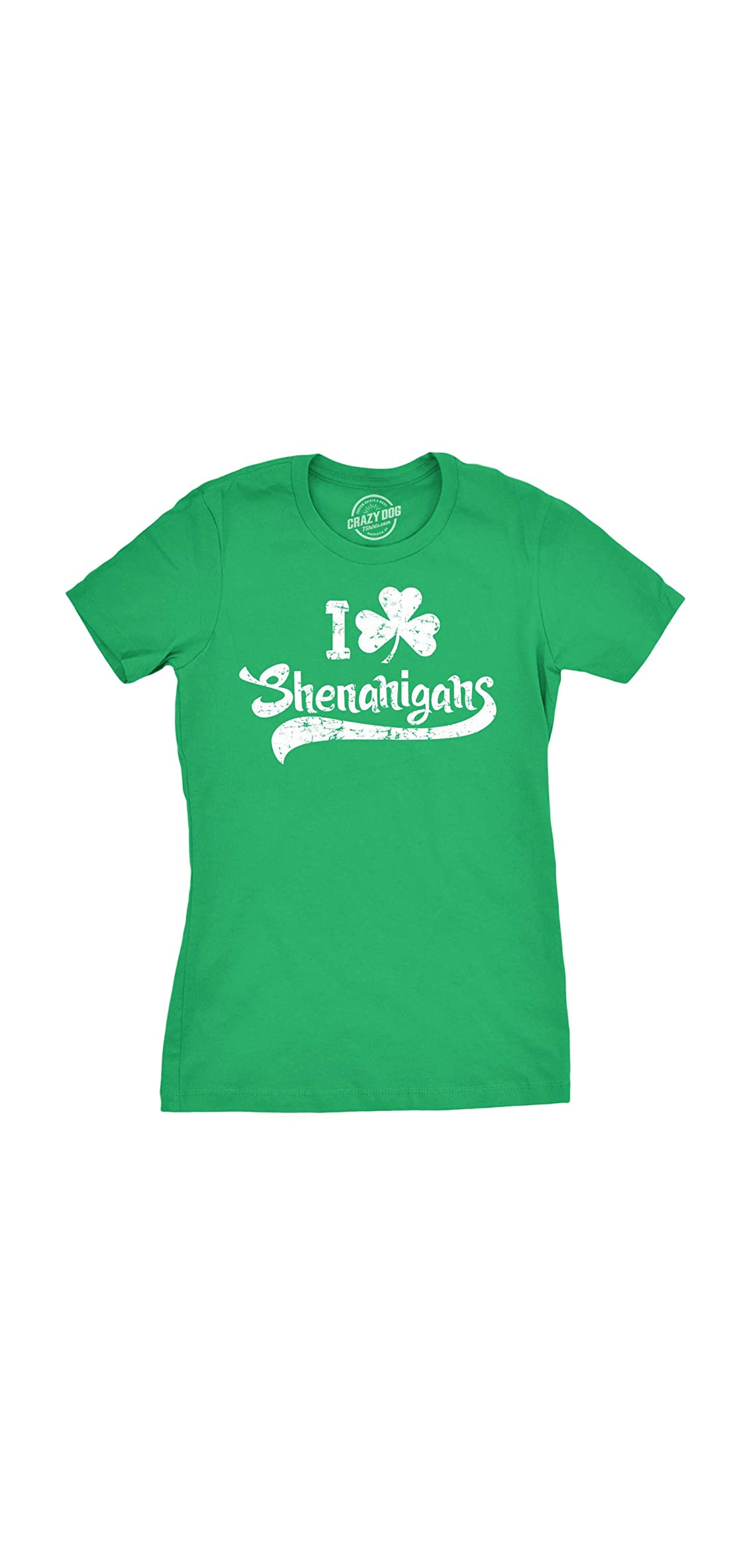Womens I Clover Shenanigans T-shirt Funny St Patricks Day Irish