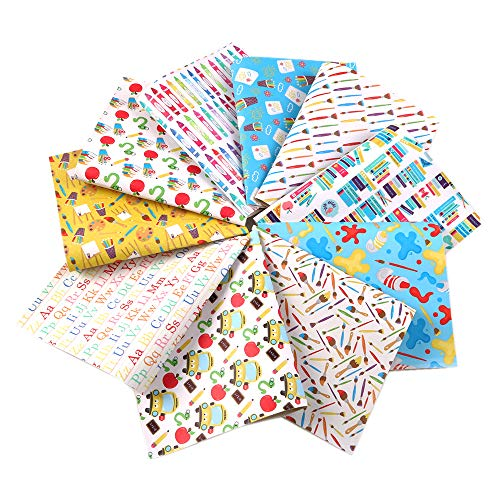 (David Angie Back to School Theme Faux Leather Fabric Sheet 10 Pcs 8