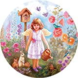 Bits and Pieces - 300 Piece Round Jigsaw Puzzle for Adults - Gardening Angel - 300 pc Flowers and Bunnies Jigsaw by Artist Judy Mastrangelo