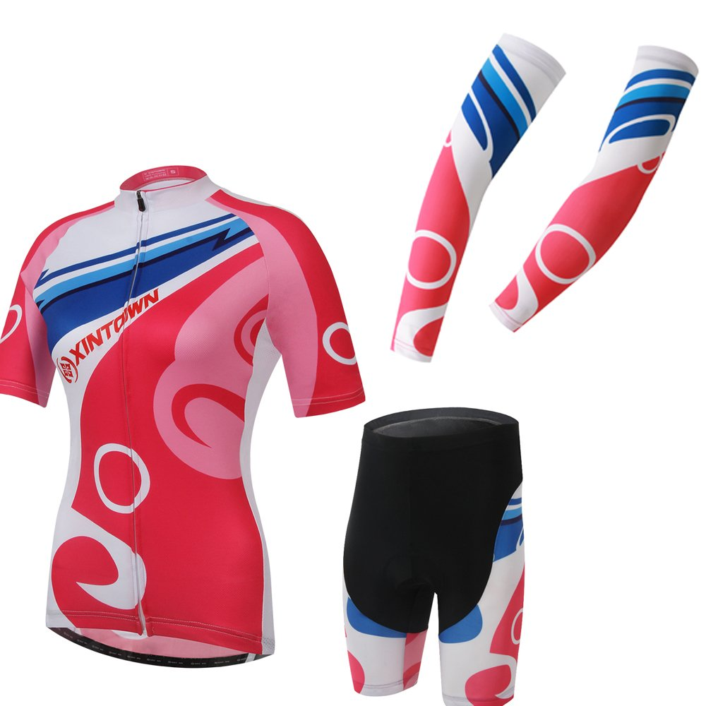 Ophelia Women Short Sleeve Cycling Jersey Pant Set+arm Sleeves(Kiss ,S) by Ophelia Outdoor