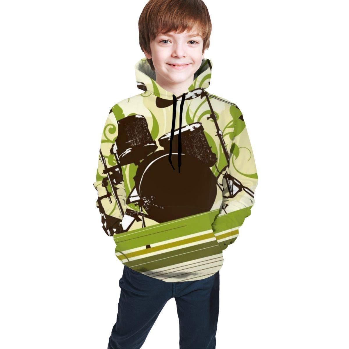 Kjiurhfyheuij 3D Print Teens Pullover Hoodies Drum Fleece Hooded Sweatshirt for Boys Girls