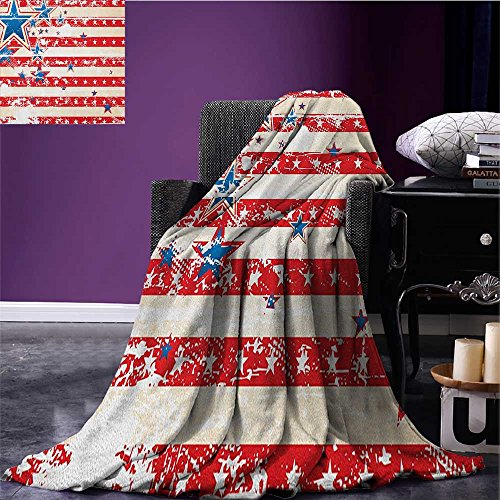American Flag summer blanket USA National Star Figures Horiz