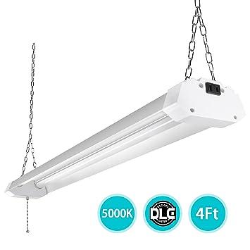 4ft Led Shop Light >> 4ft Led Utility Shop Lights For Garage 40w Bright Plug In Led Shop Light Daylight 5000k Frosted Cover