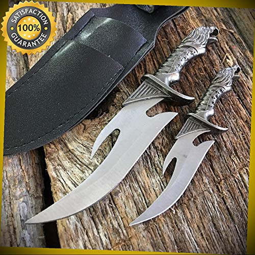 FIXED-BLADE FANTASY KNIFE SET 2 Pc. Mini Eagle Dagger Keychain Black Sheath for Hunting Camping Cosplay