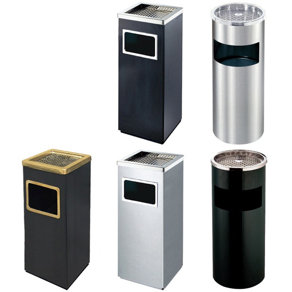 Hotel Lobby Thicken Vertical Elevator Mouth With Ashtray Outdoor Upscale Office Building Hotel Trash Can 24*24*62CM Convenient practical QFF Stainless Steel Trash Can Color : A