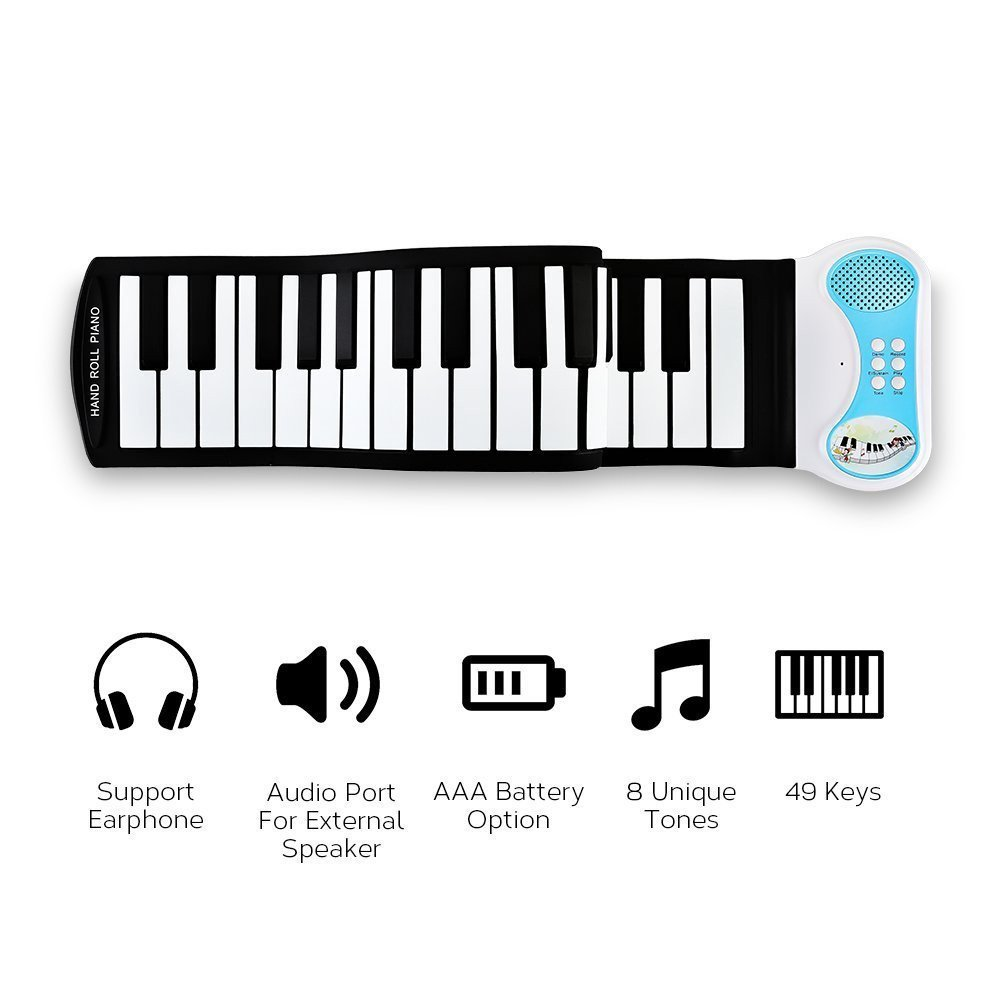 AIYIOUWEI 49 Keys - Educational Electronic Digital Roll Up Piano Keyboard W/Recording Feature, 8 Different Tones, 6 Educational Demo Songs & Build-in Speaker (Blue)