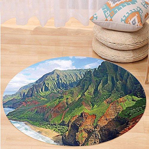 VROSELV Custom carpetHawaiian Decorations Collection Na Pali Coast Kauai Hawaii Seashore Greenery Adventurous Journey Landscape Scenery Bedroom Living Room Dorm Round 72 inches by VROSELV