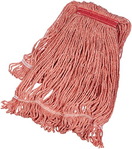 AmazonBasics Loop-End Synthetic Commercial String Mop Head, 1.25 Inch Headband, Large, Red, 6-Pack