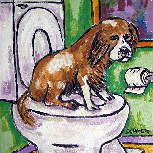 Cavalier King Charles Spaniel in the Bathroom dog art tile coaster gift