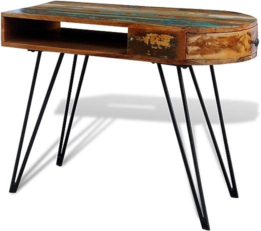 Anself - Escritorio hecho a mano con cajón de madera maciza ...
