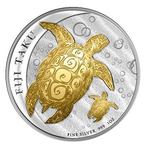2012 Fiji - Double Taku (Hawksbill Turtle) - 1oz - Gilded Silver Coin - $2 Uncirculated