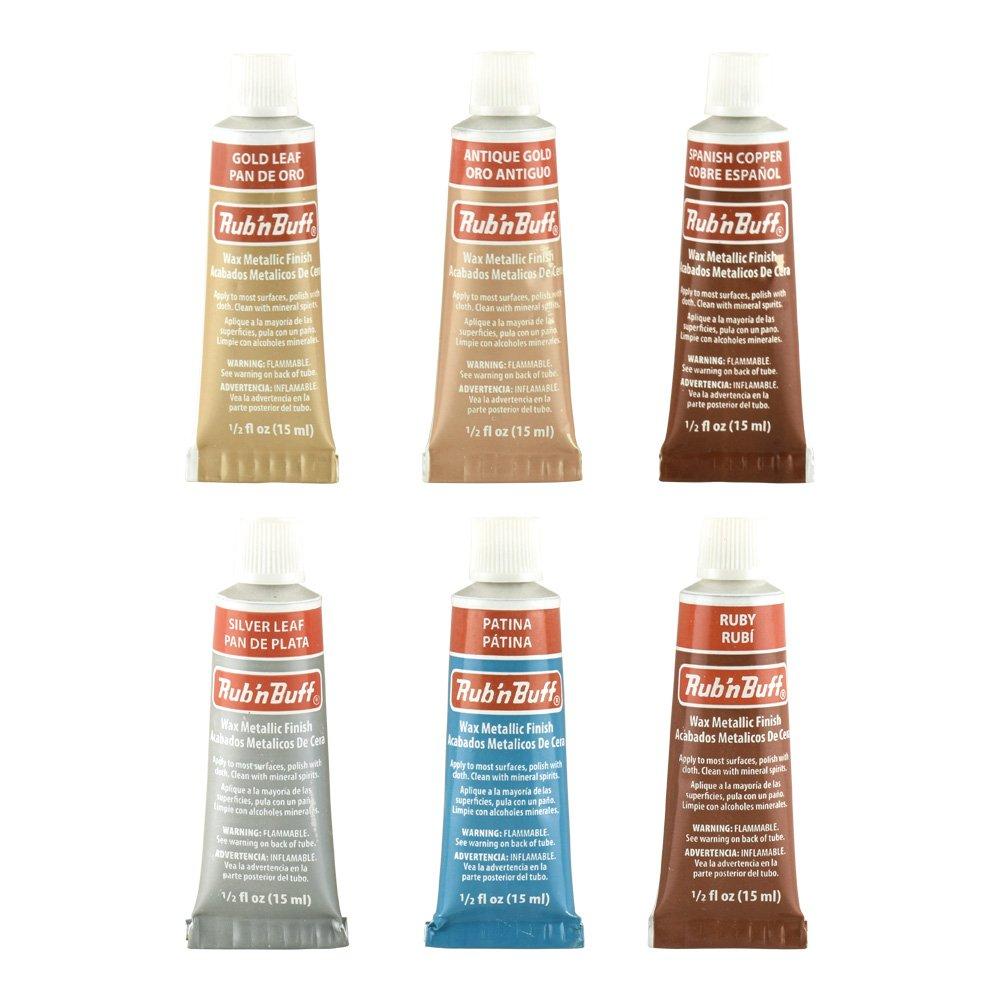 Amaco Rub 'n Buff Metallic Finishes Sampler Set I, 6 colors (76336R) MACPHERSON