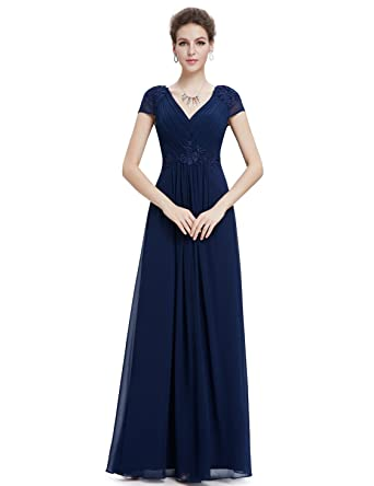 Ever-Pretty Juniors Short Sleeve Embroidered V Neck Prom Gown 4 US Navy Blue