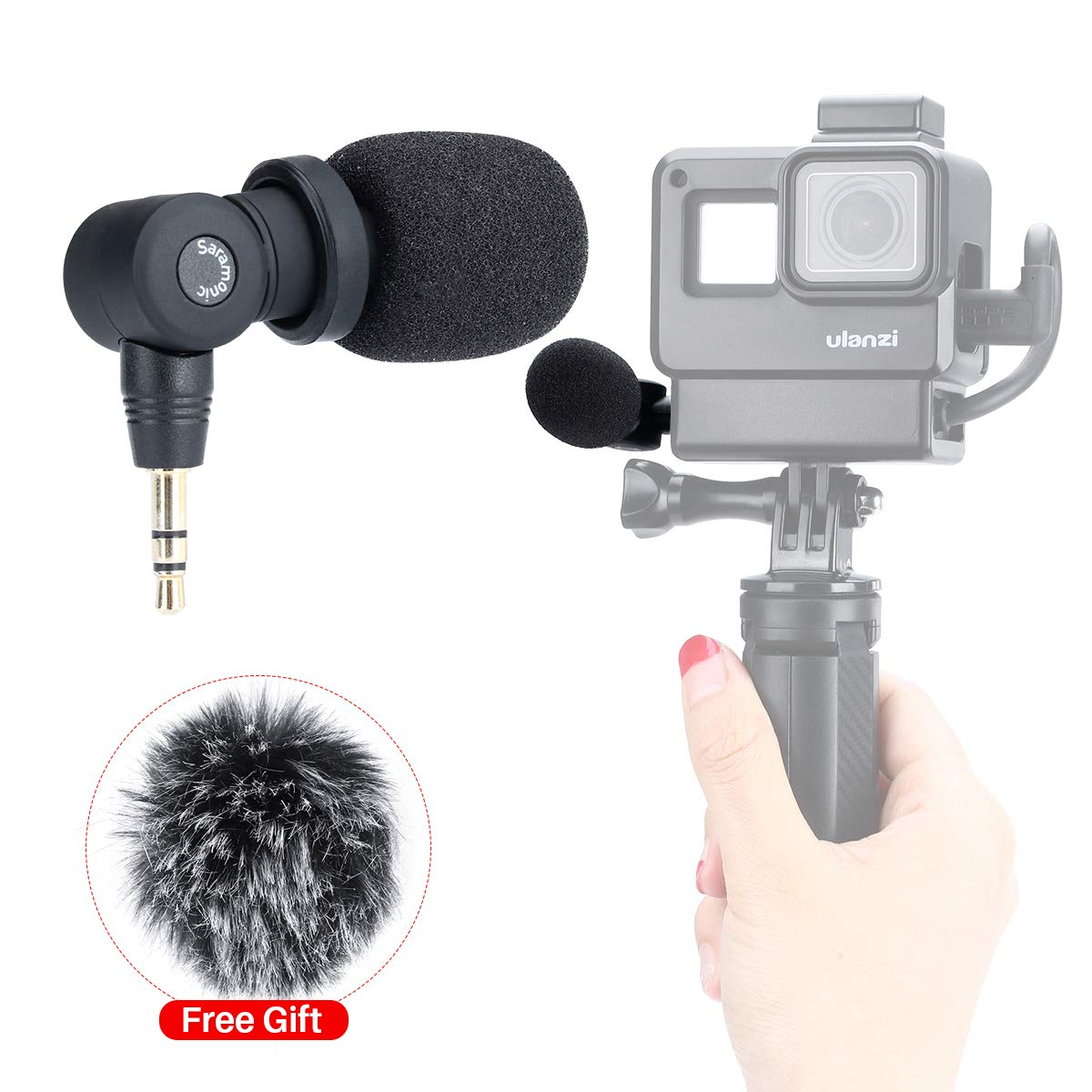 Saramonic SR-XM1 Mini Vlog Microphone for Gopro,Wireless Video Mic 3.5mm TRS Omnidirectional Microphone Plug and Play Mic for Gopro 7 6 5 DSLR Cameras, Camcorders, CaMixer, SmartMixer, LavMic Vlogging by Saramonic