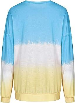 BUOYDM Mujer Camisetas Algodón Manga Larga Gradiente Color Camisas Casual Cuello Redondo Tops Azul S: Amazon.es: Ropa y accesorios