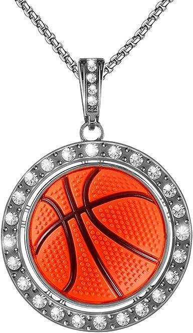 UALGL Boy Basketball Necklace Basketball Pendant Necklace Stainless Steel Necklace Sports Necklace