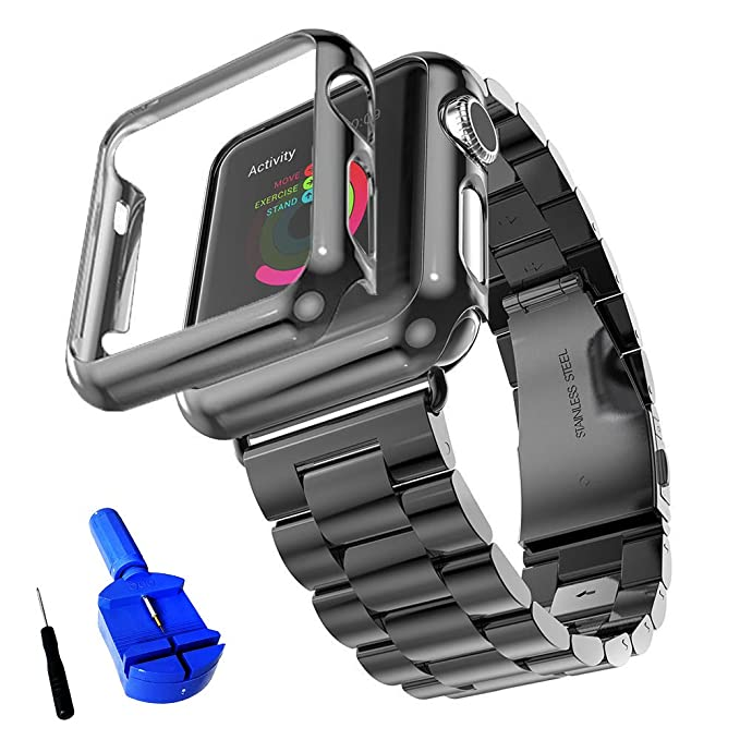 size 40 2327f 4fa49 HUANLONG Compatible with Apple Watch Band, Solid Stainless Steel Metal  Strap Band w/Adapter+Case Cover for Apple Watch iWatch 42mm (H Black 42mm)