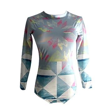 Moresave Traje de surf de manga larga para mujer, trajes de baño de una pieza