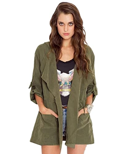 Baymate Otoño Chaqueta para mujer Abrigo Manga Larga Trench Coat con Capucha Outerwear Jacket
