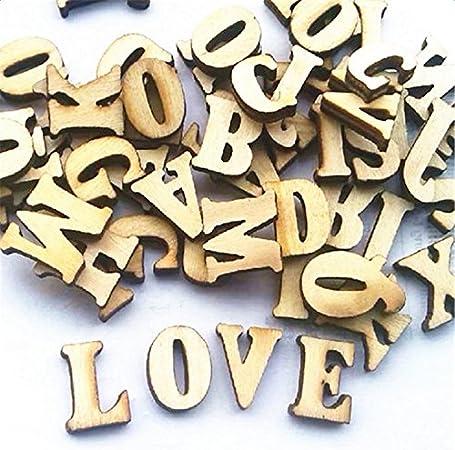 Leisial - 100 piezas de madera tipo Scrabble, letras del alfabeto, números de letras para manualidades, bisutería, manualidades, decoración, exhibiciones, madera, Letras, 1.5cm: Amazon.es: Hogar