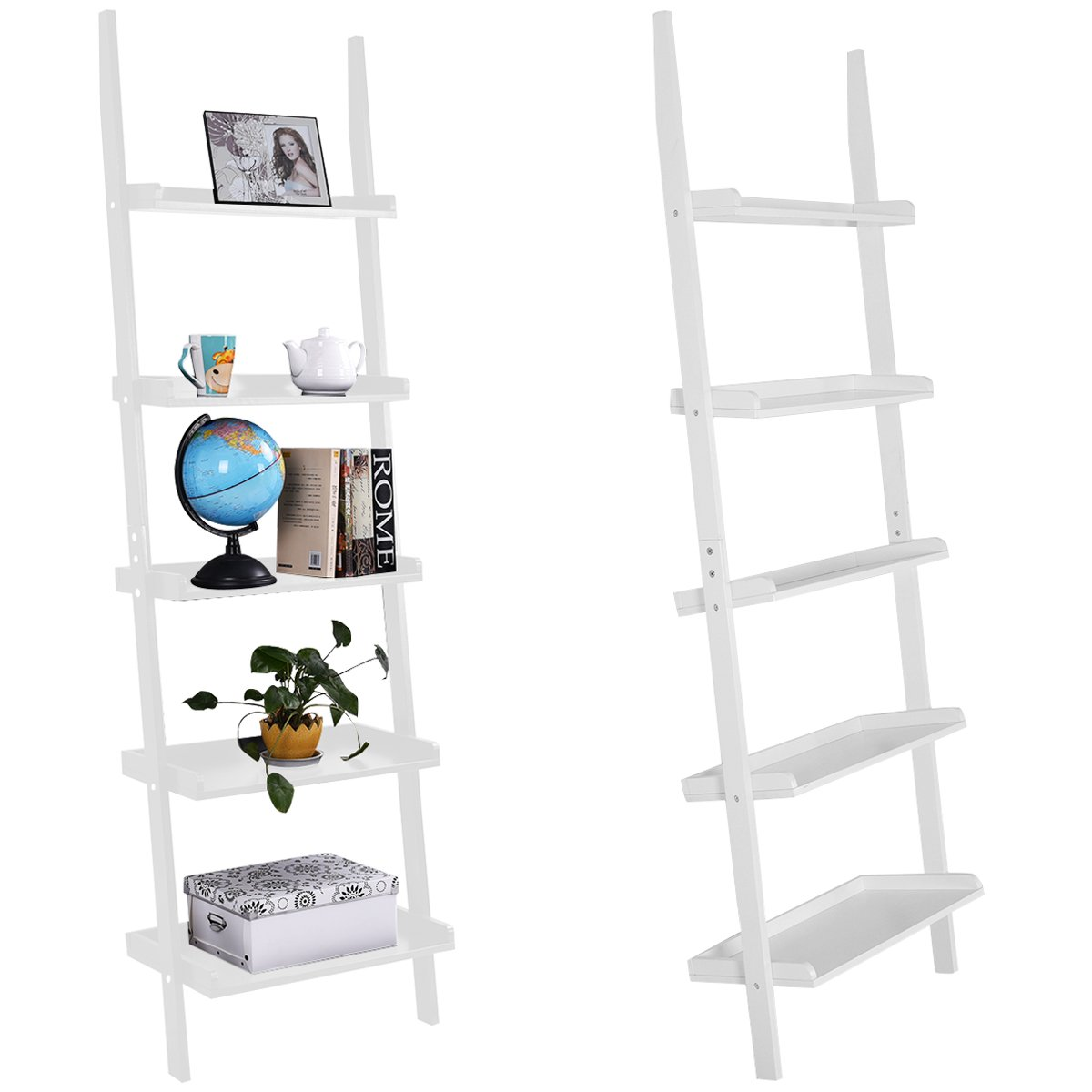 CASART 5 Tier Wooden Wall Ladder Shelf Leaning Unit Rack Bookcase Display Holder Stand Black/White (White)