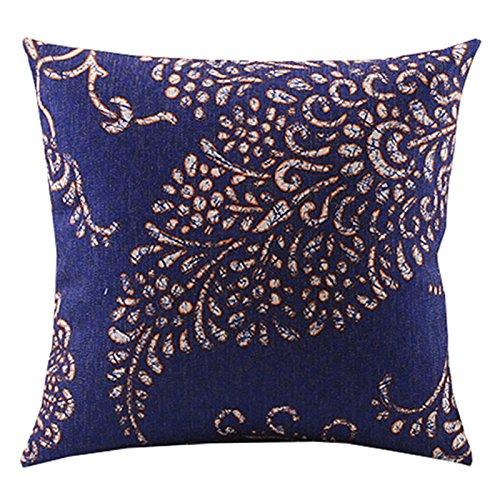 Create For-Life Cotton Linen Decorative Pillowcase Throw Pillow Cushion Cover Retro Brocade Leaf Prints Blue Square ()