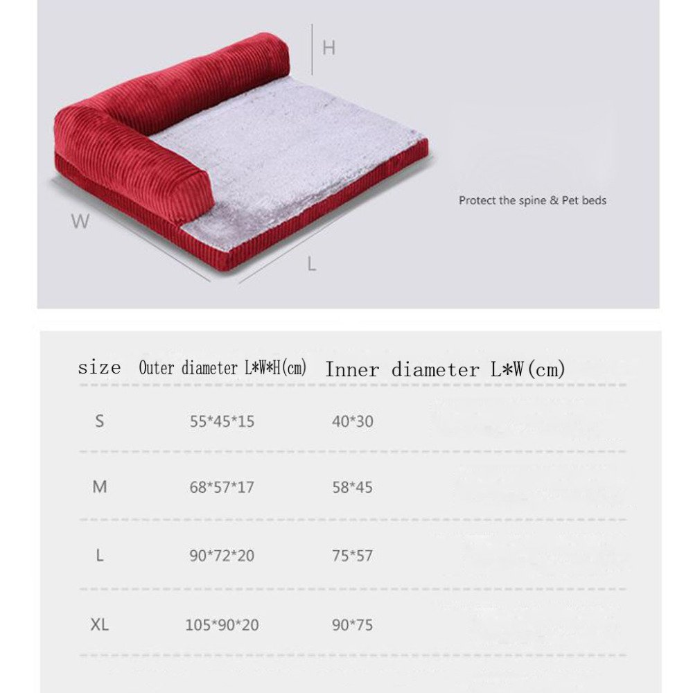 LDFN Dog Pillow Bed Removable And Washable Four Seasons General Large Medium Small Size Dog Mattress Sofa Cushions,Red-XL by LDFN (Image #4)