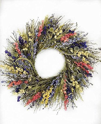 Nature's Whimsy Garden Wreath with Larkspur and Greens and Grains Lovely Easter Spring Wreath: Pink Blue Green Wreath. 22 inch. Hand Made in The USA