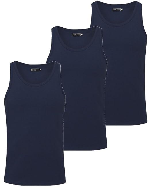 JACK & JONES - Camiseta sin Mangas para Hombre Azul 3er Pack Navy S