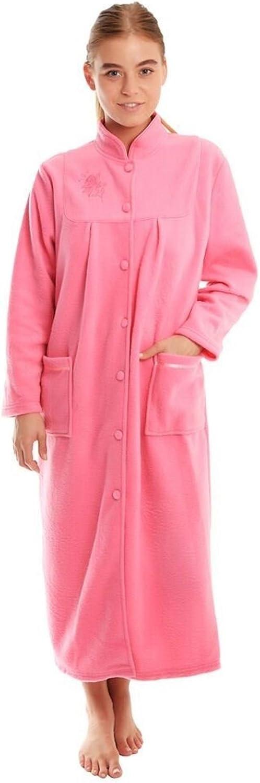 Señoras Warm Fleece Manga Larga botón y Bolsillos Front Soft Dressing Gown Jacket