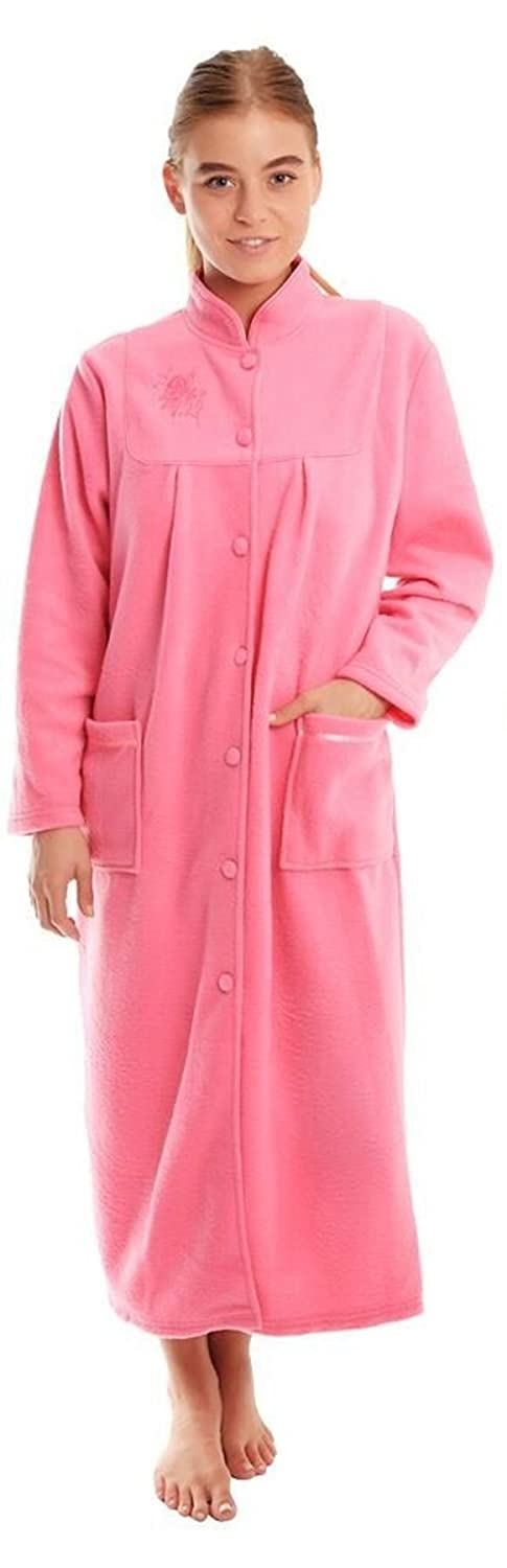 Ladies Button Front Soft Fleece Dressing Gown 4073 [22/24,Pink]