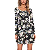 iShine Women Autumn Spring Vintage Dress Long Sleeved Print Floral Dress Women Retro Vintage Elegant Tunic
