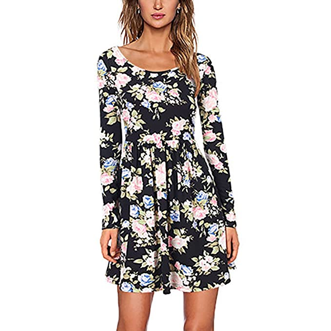 fdcf550685d Elfremore Women s Floral Print T-Shirt Dress Shift Short Swing Mini ...