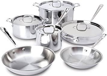 All Clad 401877R Stainless Steel 3 Ply Bonded Dishwasher Safe Cookware Set,  10