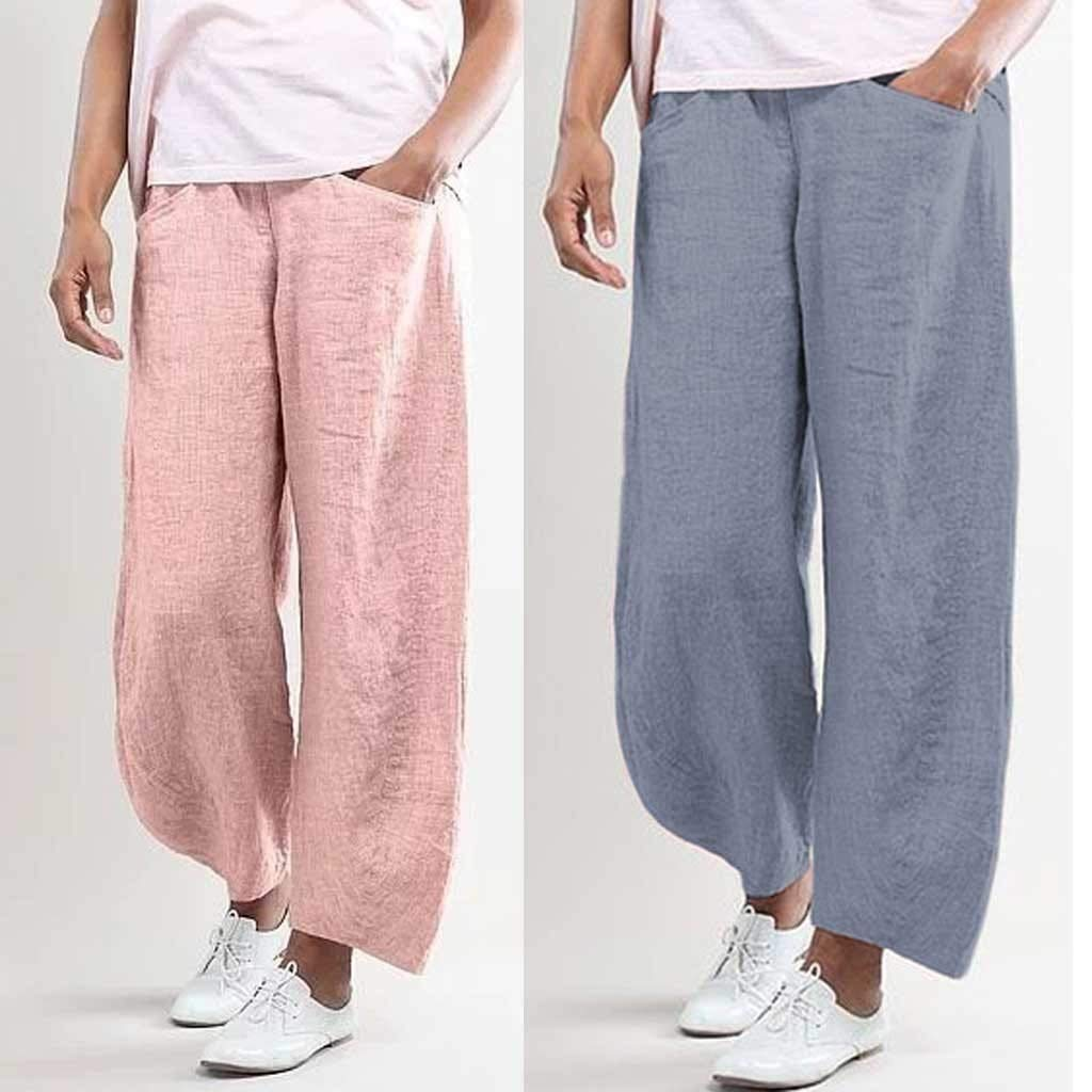 CofeeMO Womens Solid Color Comfy Elastic Waist Drawstring Linen Pants Beach Leisure Trousers