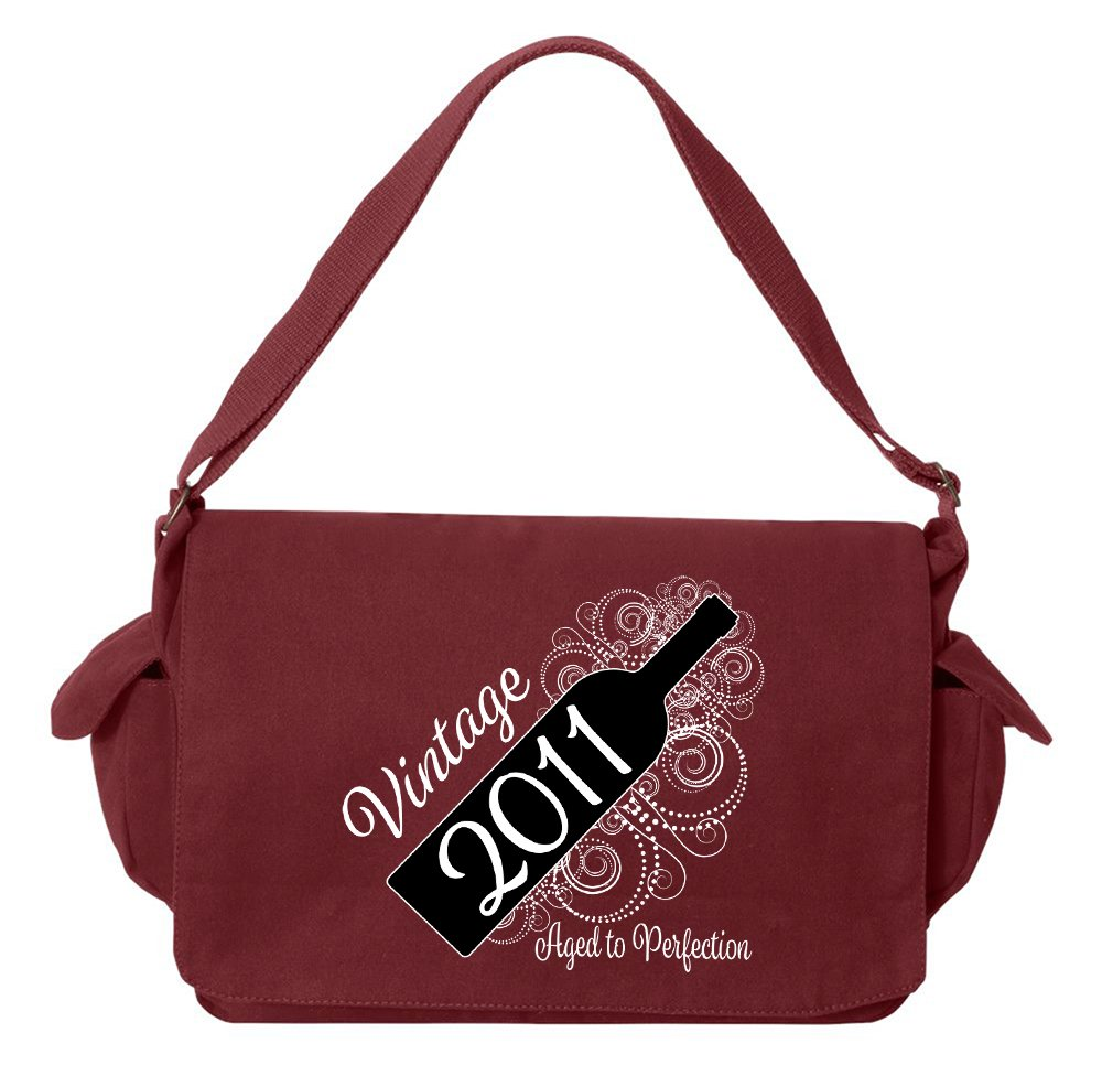 Tenacitee Born in 2011 - Aged Like a Fine Wine Maroon Brushed Canvas Messenger Bag