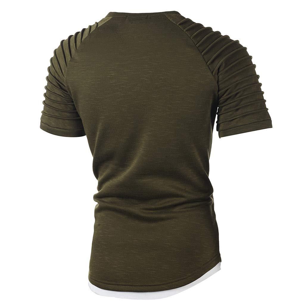 Fashion Men's Comfort Soft Short Sleeve T-Shirt, ANKOLA Summer Pleated Slim Fit O Neck Raglan Tops Blouse Army Green by ANKOLA STORE (Image #5)