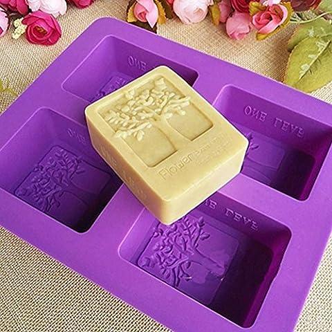 Kakasogo 2017 Newest 4 Cavity Flower Tree Rectangular Silicone Soap Cake Chocolate Mold Trays DIY Handmade Cupcake Baking Candle Craft Art Pans Flexible Sturdy Mould Tool Set(Random - Flower Silicone Candle