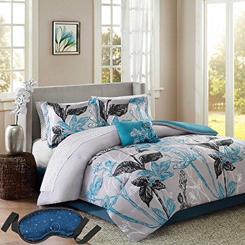 Modern Elegant Soft Bright Color Embroidered Floral Print Bedding Blue/Grey Reversible Down Comforter Set, TWIN (8 Piece Bed in a Bag) with Sleep Mask (Madison Crib Set)