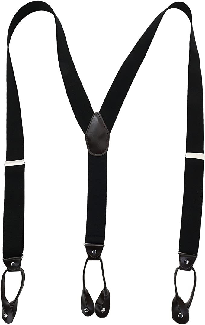 Mens Grey 1 inch Elasticated Plain Braces Adjustable Suspender 3 Clip UK Seller
