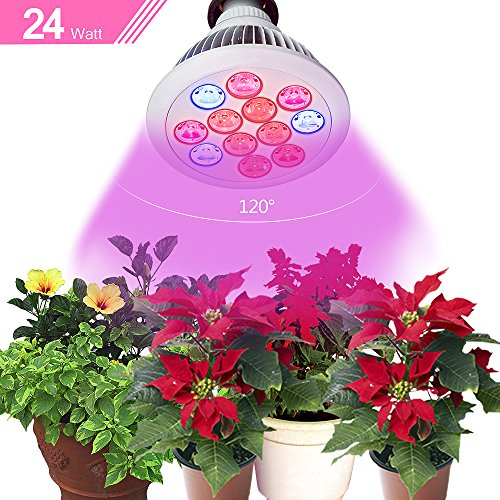 Newest High Efficient Hydroponic LED Grow Light bulb, WishWorld 24W E27 Plant Growing Lights System For Garden Greenhouse Home Basement and Hydroponic Aquatic Full Spectrum Growth Lamps in 3 Bands