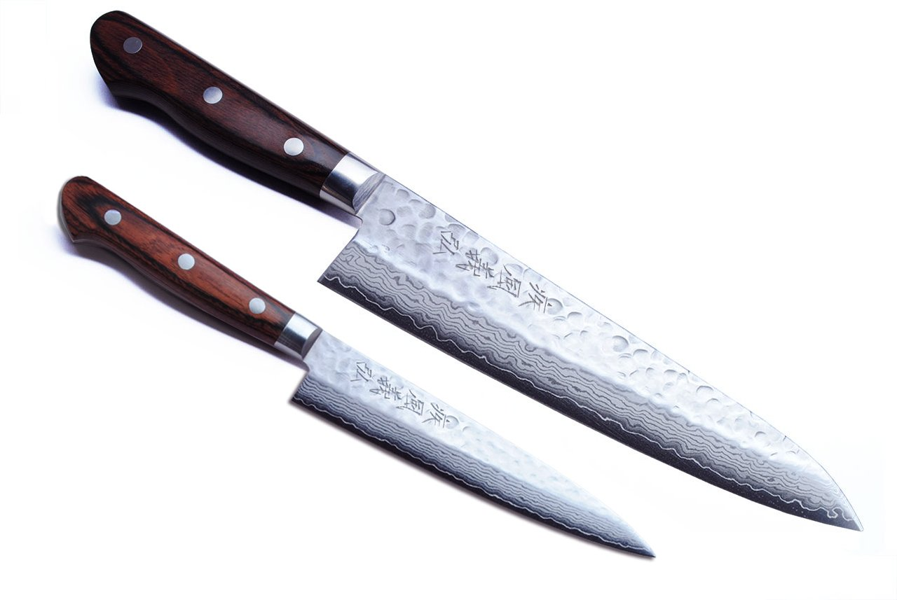 Yoshihiro VG-10 16 Layer Hammered Damascus Stainless Steel Gyuto 8.25'' (210mm) Japanese Chefs Knife & Petty Utility Knife 5.3'' (135mm) SET by Yoshihiro (Image #1)