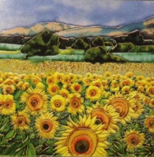 Continental Art Center BD-2111 8 by 8-Inch Sunflower Field Ceramic Art Tile Ceramic Sunflowers